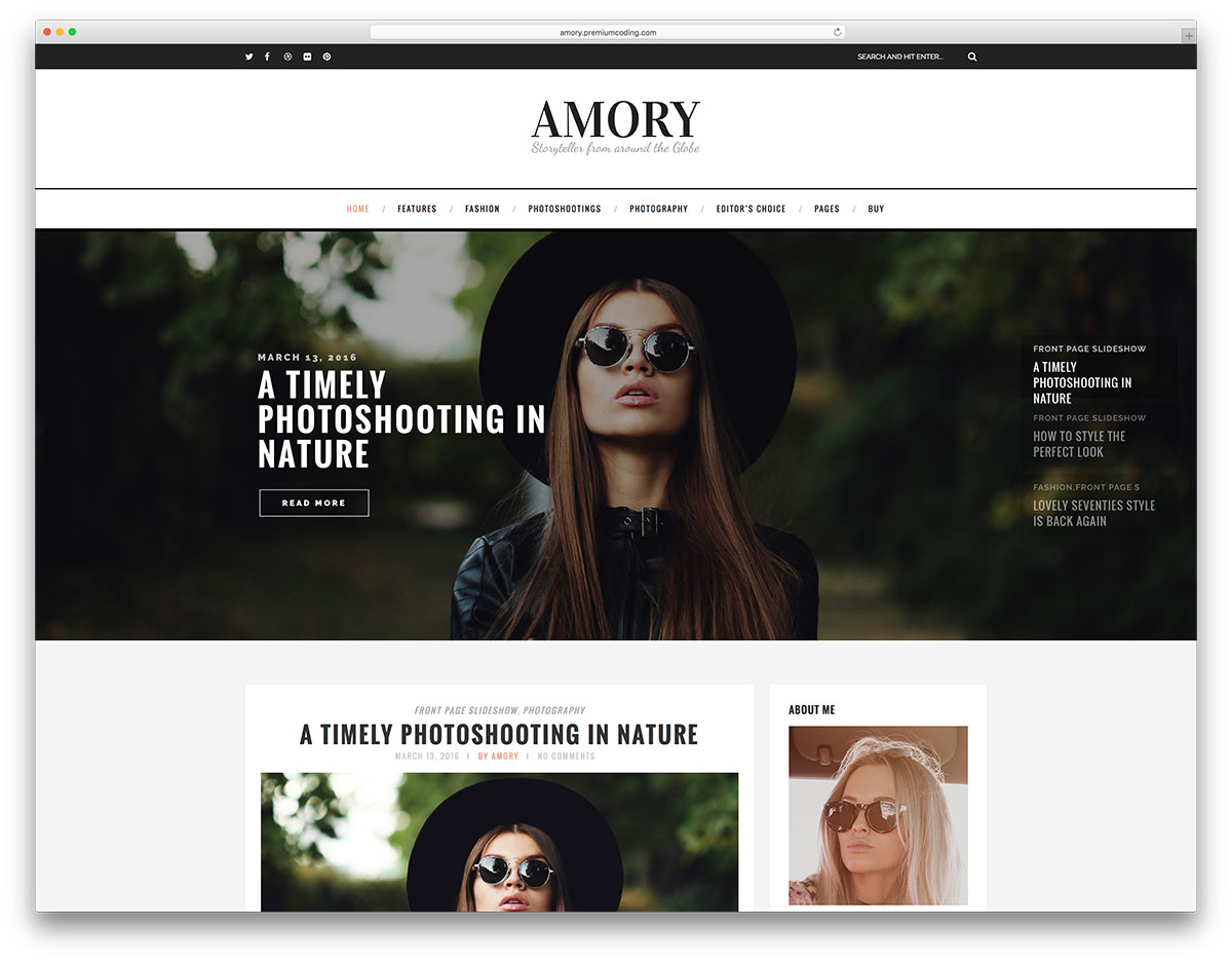 amory minimal fashion blog wordpress website template