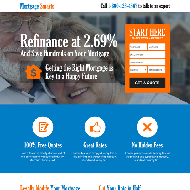 save money on mortgage consultant business service lead gen effective landing page design 017 th