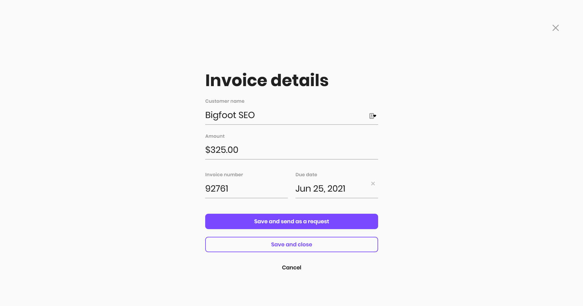 A Melio Payments INVOICE looks like this