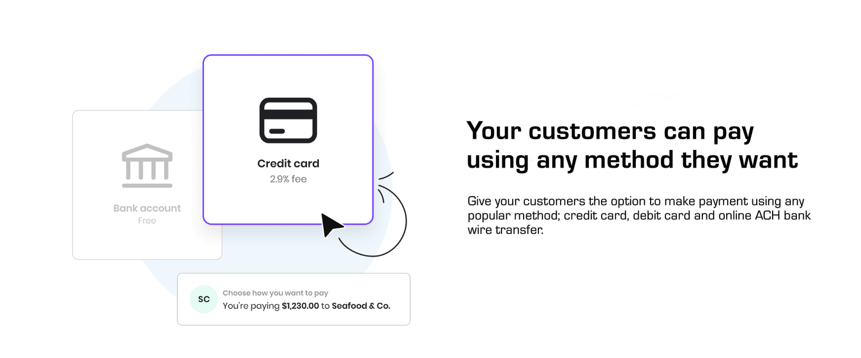 By Publishing a KJPAY link on your website Buyers Can Choose How They Want To Pay Credit Card Debit Card or ACH