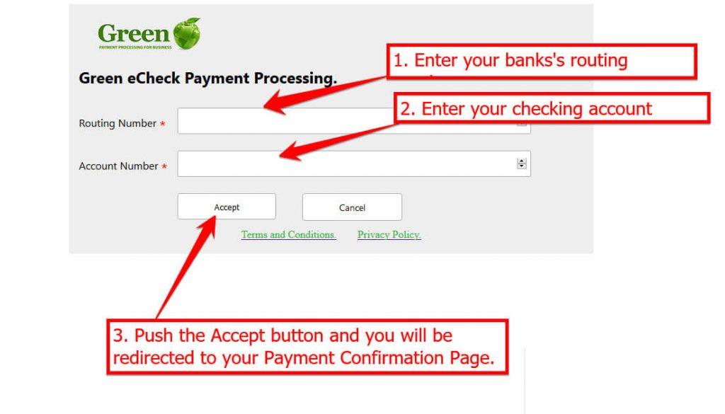 GreenPay eCheck Gateway sample of a check
