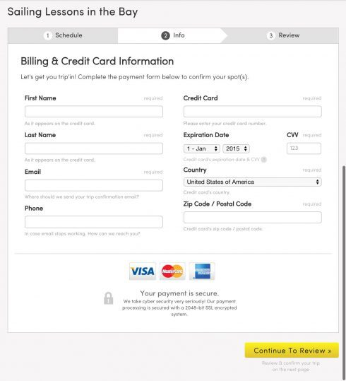 billing and credit card information