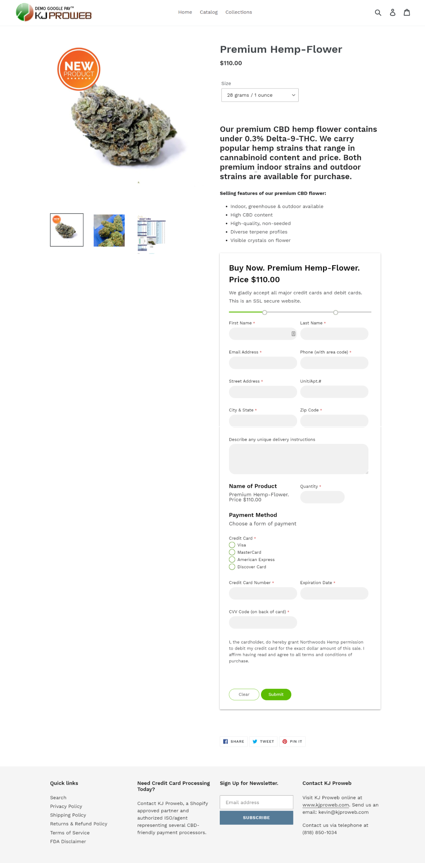 sample checkout page form credit card acceptance